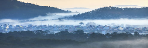 Fog in mountain, Da Lat city Royalty Free Stock Images