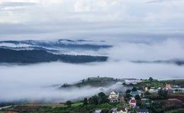 Fog in mountain, Da Lat city Royalty Free Stock Photo