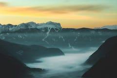 Fog on Mountain during Dusk Royalty Free Stock Image
