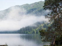 Fog at mountain lake. Morning fog rises from Lake Crescent in Olympic National Park, Washington stock image