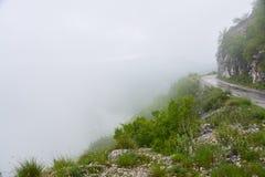 The fog on the mountain pass Stock Photo