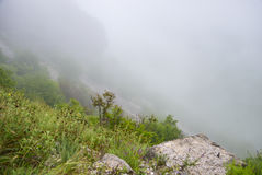 The fog on the mountain pass. After rain  at Montenegro Royalty Free Stock Image
