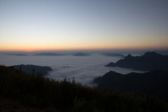 Fog. Mountain Fog sky smoke solitary stone sun thailand trave Stock Image