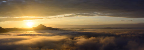 Fog on the mountain at sunset at phu thok chiang khan loei provi Stock Photography