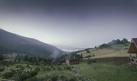 Fog in the mountain valley Royalty Free Stock Images