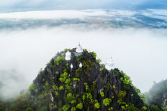 Fog on the Mountain.Wat Mongkut Memorial Rachanusorn a public te. Mple on the hill. The wonderful thing is beautiful. It is located in Lampang, Thailand Stock Photography