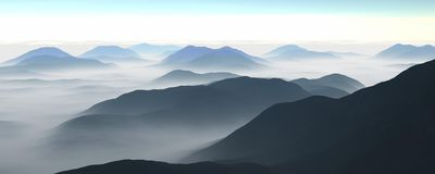Fog and mountains Royalty Free Stock Photos