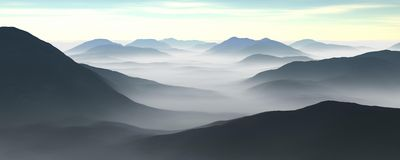 Fog and mountains Stock Photo