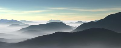 Fog and mountains Stock Images