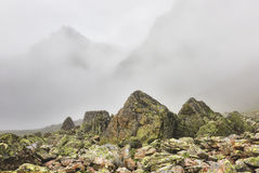 Fog in mountains and boulders covered with lichen in foreground Stock Photos