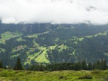 Fog and Mountains in Interlaken, Switzerland stock photo