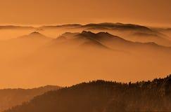 Mountains in autumn morning stock photo