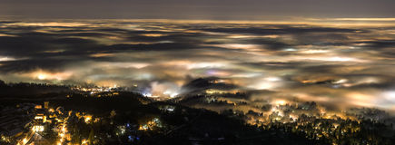 Fog in the night. Fog over the city of Varese, Italy Stock Photography