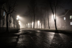Fog in Night city. Night city fog on the road Royalty Free Stock Photo