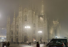 Fog at night in Minster square, Milan Royalty Free Stock Image