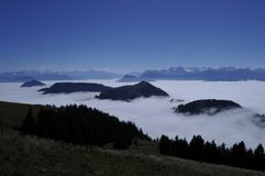 The fog-ocean over the swiss alps seen from Rigi-Kulm near Kaltb. Runn in Central Switzerland Stock Images