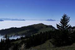 The fog-ocean over the swiss alps seen from Rigi-Kulm near Kaltb. Runn in Central Switzerland royalty free stock photo