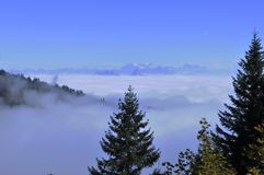 The fog-ocean over the swiss alps seen from Rigi-Kulm near Kaltb. Runn in Central Switzerland Stock Photography