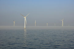 Fog in offshore windpark Stock Image