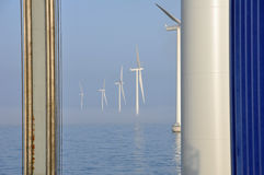 Fog in offshore windpark Stock Images
