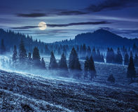 Fog On Hot Sunrise In Mountains At Night Royalty Free Stock Photo