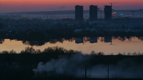 Fog over the city stock footage