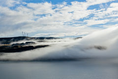 Fog Over Columbia River Stock Images