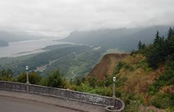 Fog over Columbia River Gorge. Grey foggy morning at Columbia River Gorge from Vista House viewpoint Stock Photography