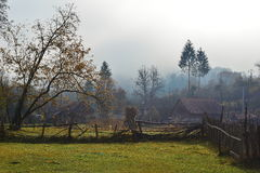 Fog over the country village Stock Photography