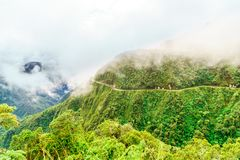 Fog over the Death Road in the Yungas of Bolivia Stock Image
