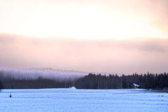 Fog Over Forest in Winter. Fog over forest on a December evening in rural Finland Royalty Free Stock Photography