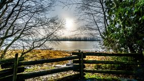 Fog over the Fraser River viewed from the Trans Canada Trail near the Bonson Community in Pitt Meadows. British Columbia, Canada Royalty Free Stock Photography