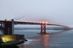 Fog over Golden Gate Bridge during sunset Stock Image
