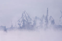 Fog over harbor. Morning. Fog over harbor Stock Photography
