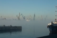 Fog over harbor. Morning. Fog over harbor Royalty Free Stock Image