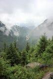 Fog over highway to mountains. Transfagarasan road. Romania Royalty Free Stock Image