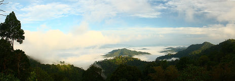 Fog over the hill , Thailand Royalty Free Stock Photos