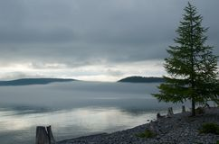 Fog over Lake Hovsgol Stock Image