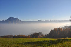 Fog over lake traunsee Royalty Free Stock Photos