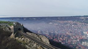 Fog over medieval fortress Ovech near Provadia, Bulgaria.  stock video footage