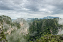 Fog over mountain in morning Royalty Free Stock Photo
