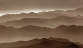 Fog over the mountains royalty free stock photos