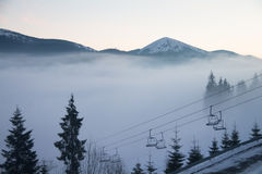 Fog over the mountains Stock Photography