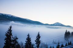 Fog over the mountains Stock Photo