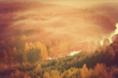 Fog over Neris river in Lithuania Royalty Free Stock Images