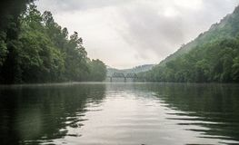 Fog over New River in Pembroke, Virginia royalty free stock photography