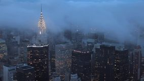 Fog over New York City skyline time lapse. Video of fog over New York City skyline time lapse stock video footage