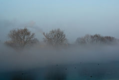 Fog over river Royalty Free Stock Images