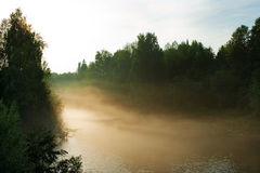 Fog over the river Stock Image