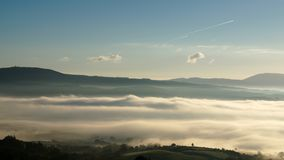 Fog over the Shannon River. View overlooking Ogonnelloe, Co Clare, Ireland on a foggy morning Royalty Free Stock Image